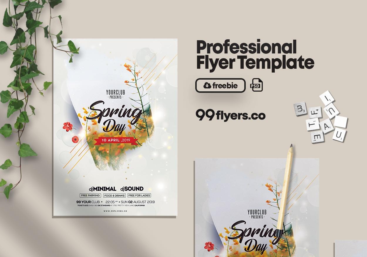 Free Spring Break PSD Flyer Template