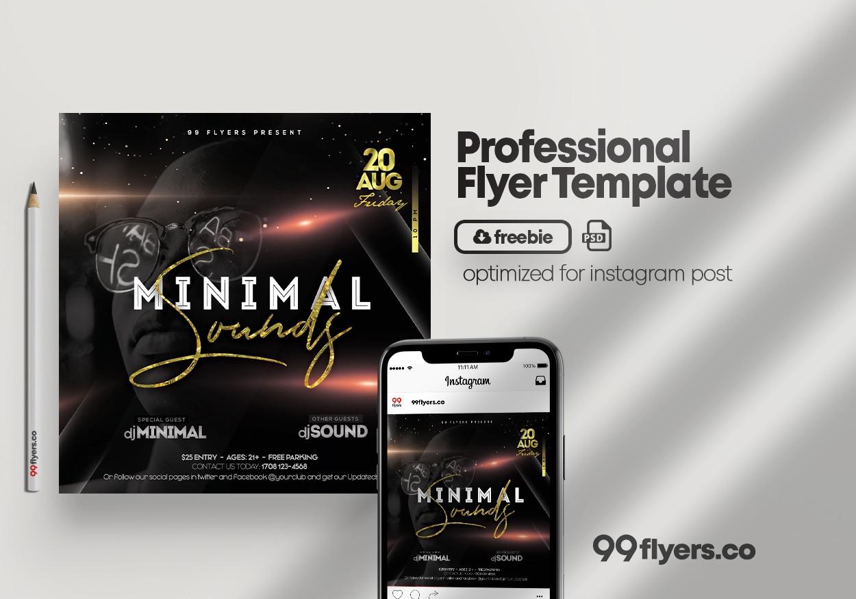Minimal Sound PSD Free Flyer Template Vol.1