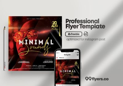 Minimal Sound PSD Free Flyer Template Vol.2