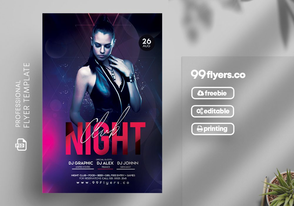 Night Club Free PSD Flyer Template