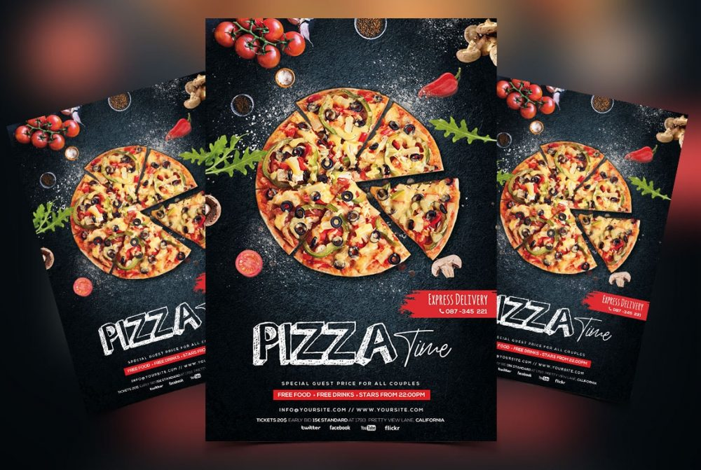 Pizza Restaurant Free PSD Flyer Template