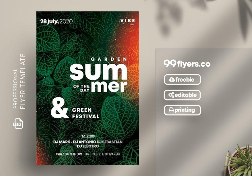 Summer Day Green Free PSD Flyer Template