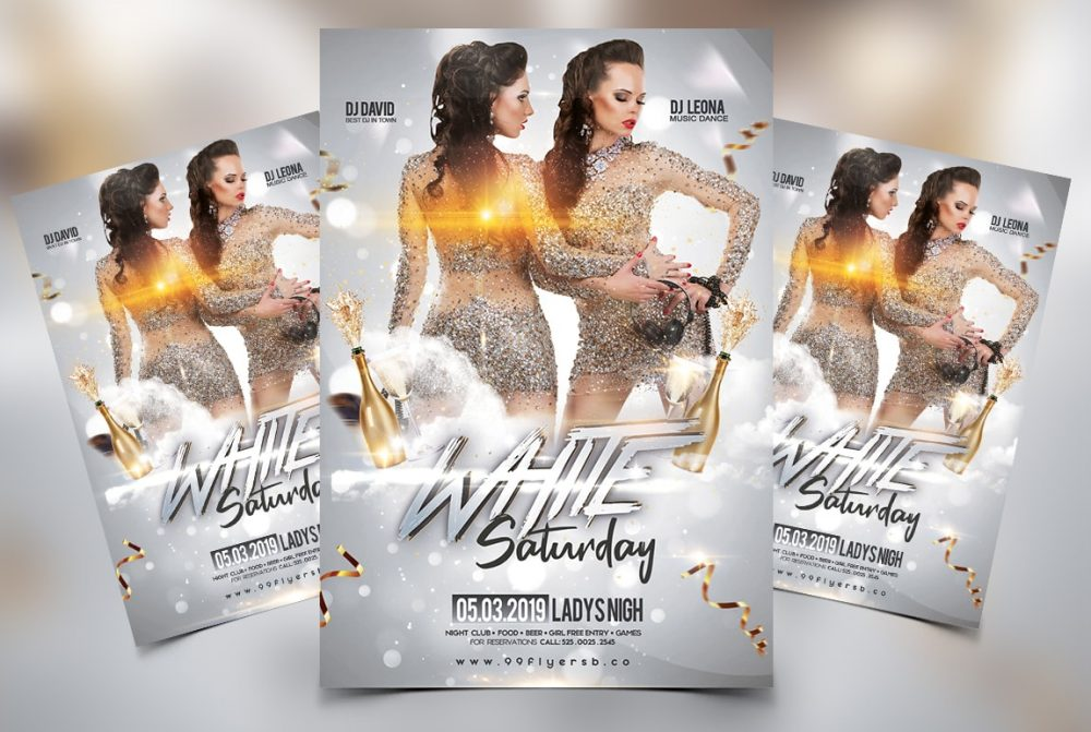 White Saturday Free Party PSD Flyer Template