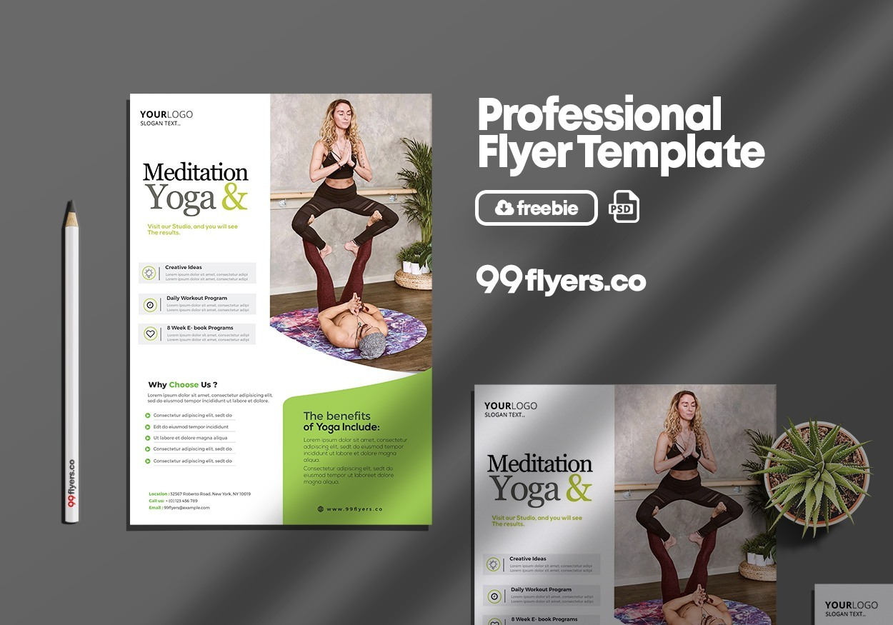 Yoga Workout Free PSD Flyer Template