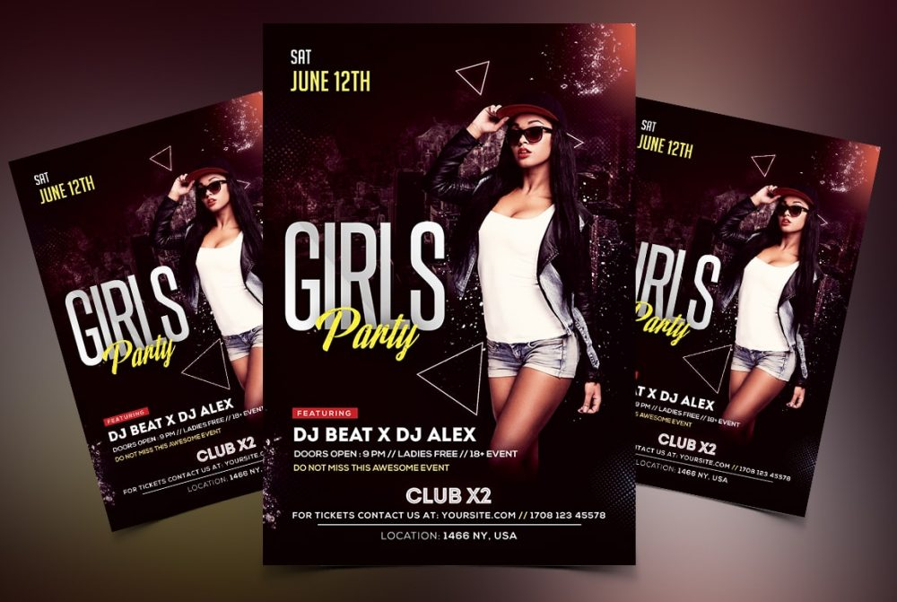 Girls Party PSD Free Flyer Template