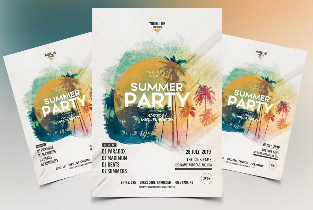 Summer Party PSD Free Flyer Template