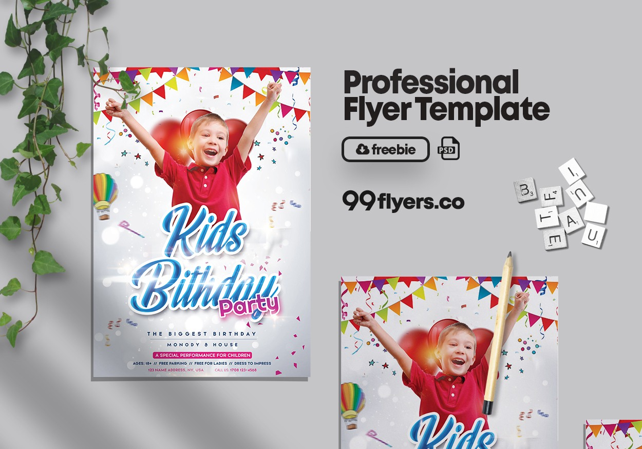 Birthday Kids Event Free PSD Flyer Template