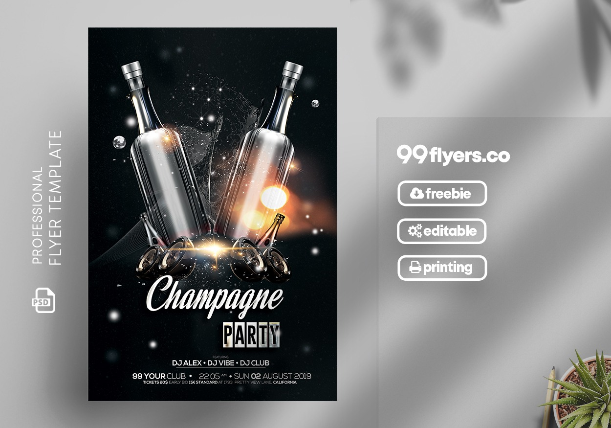 Champagne Party - Black & Gold Free PSD Flyer