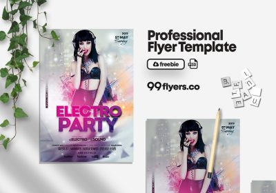 Electro Party Free PSD Flyer Template