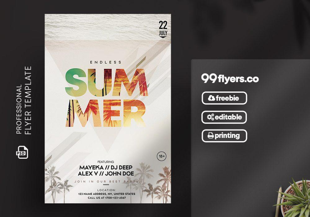 Endless Summer Free PSD Flyer Template