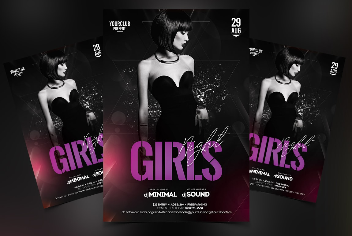 Girls Night Free PSD Flyer Template