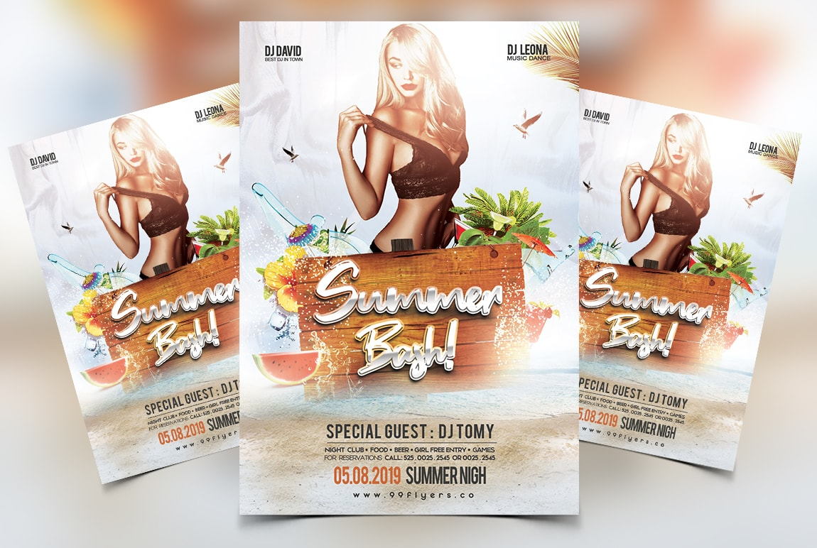 Summer Bash Free PSD Flyer Template