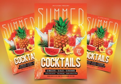 Summer Cocktails Free PSD Flyer Template