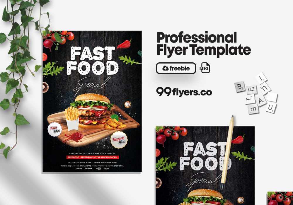 Fast Food Special Free PSD Flyer Template