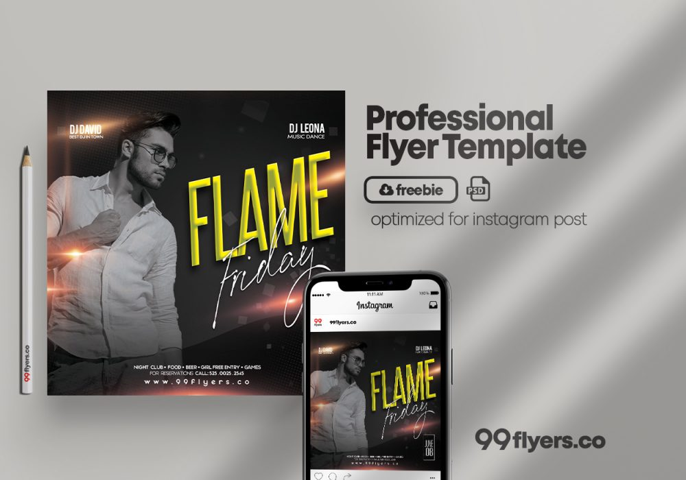 Flame Friday Free PSD Flyer Template