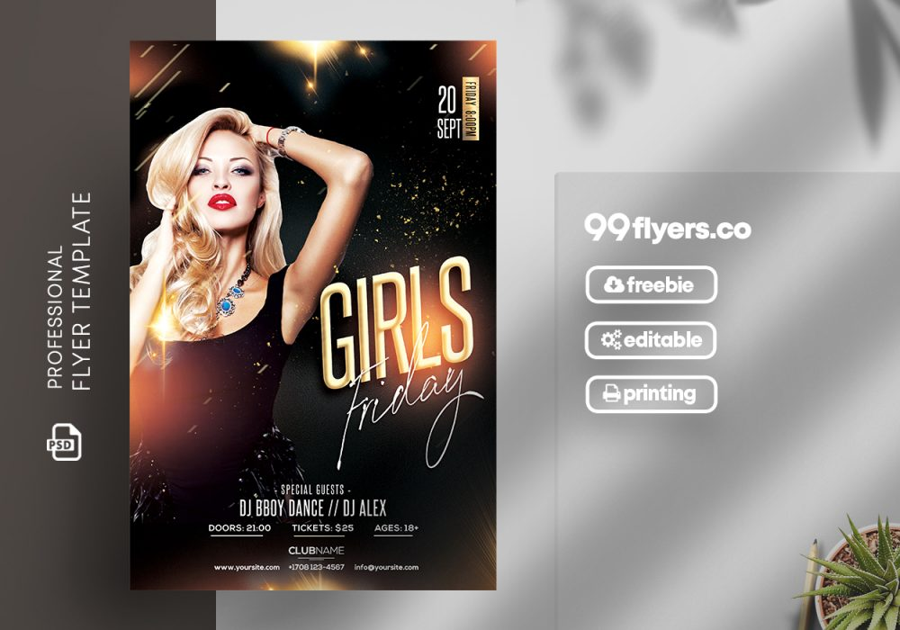Friday Girls Free PSD Flyer Template