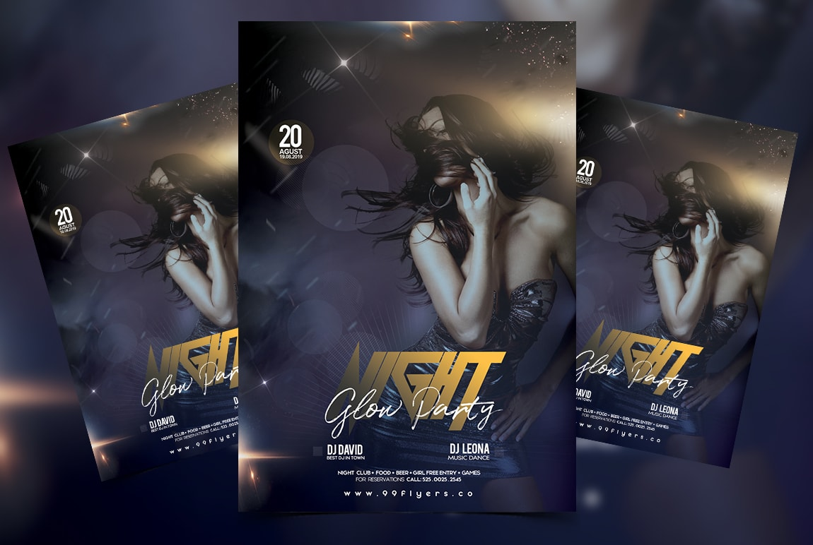 Glow Night Party Free PSD Flyer Template