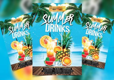 Summer Cocktail Free PSD Flyer Template