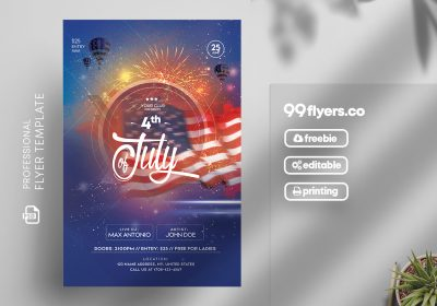 4th of July Party Free PSD Flyer Template