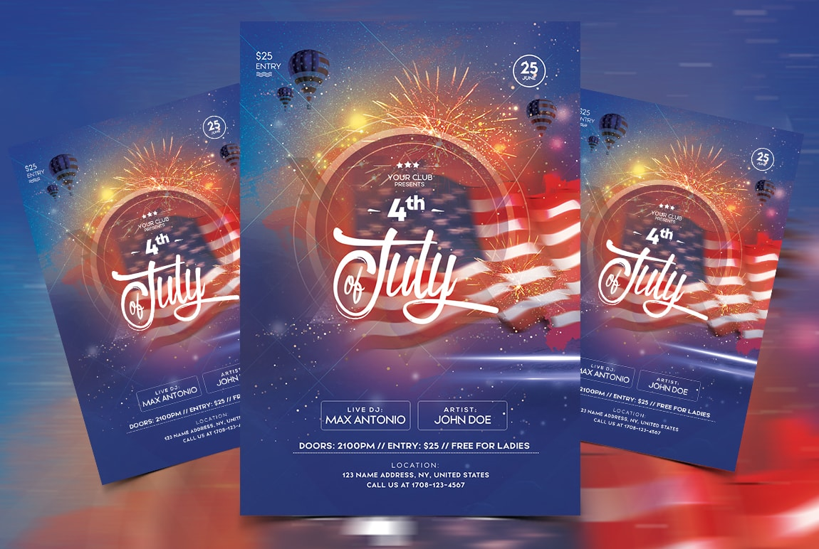 4th Of July Party Free Psd Flyer Template 99flyersco