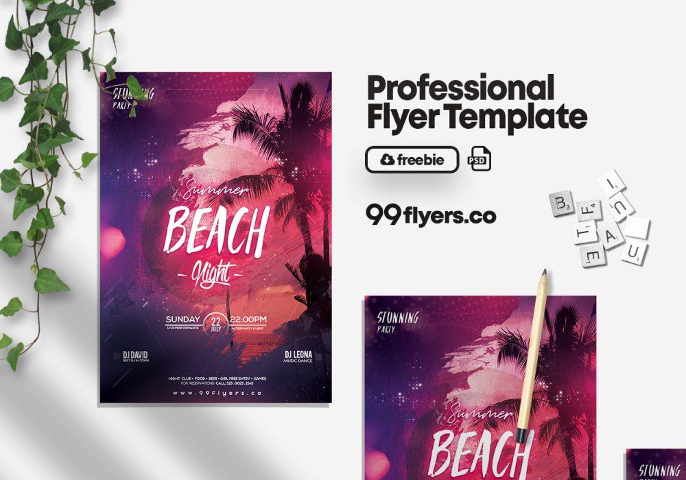 Beach Night Free PSD Flyer Template
