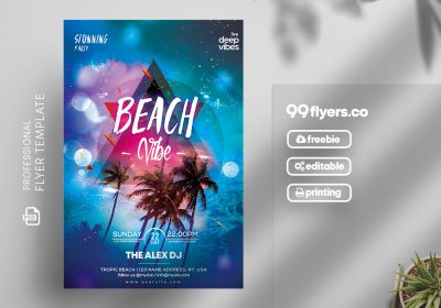 Beach Vibes Party Free PSD Flyer Template