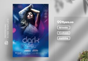 Dark Night Party Free PSD Flyer Template