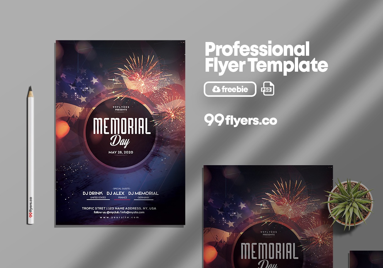 memorial day event free psd flyer template 99flyers. Black Bedroom Furniture Sets. Home Design Ideas