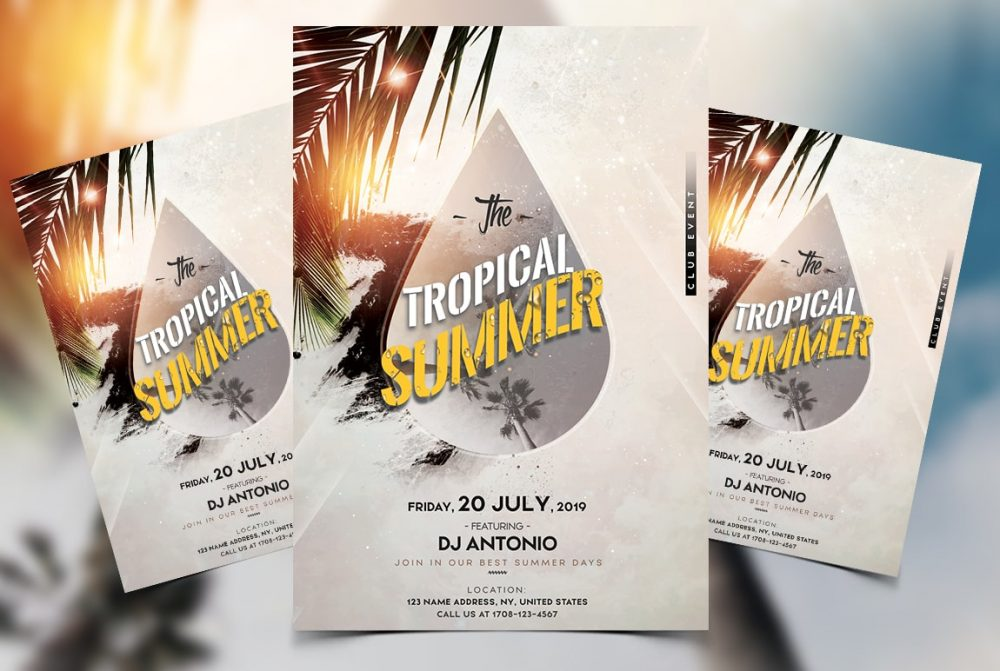 Tropical Beach Party Free PSD Flyer Template
