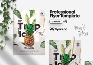 Tropical Flower Party Free PSD Flyer Template