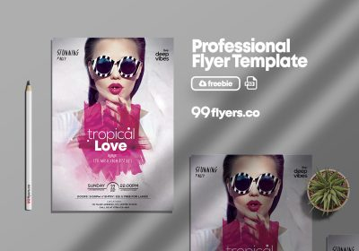 Tropical Love Party Free PSD Flyer Template