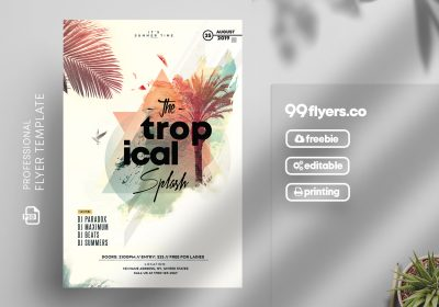 Tropical Splash Free PSD Flyer Template