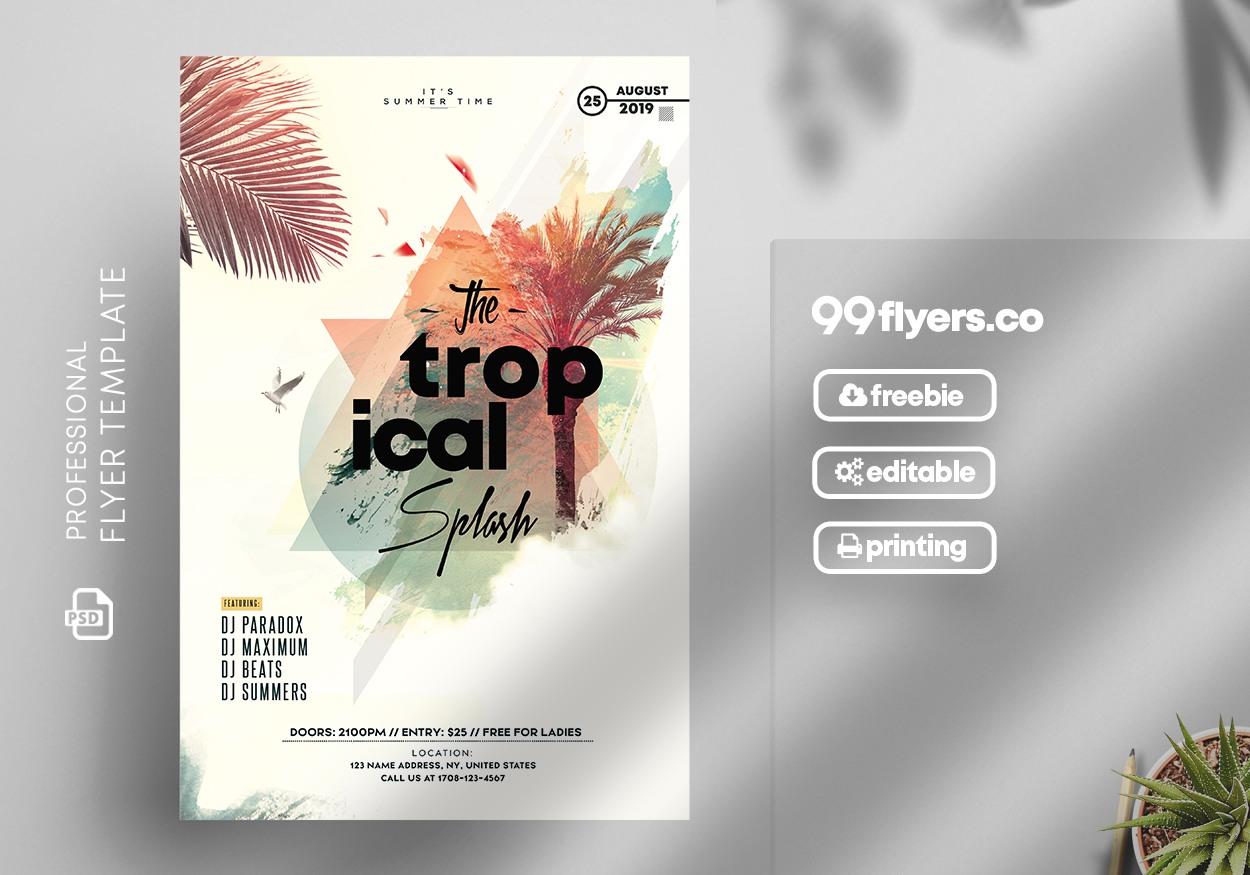 Tropical Splash Free PSD Flyer Template