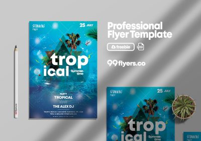Tropical Summer Free PSD Flyer Template