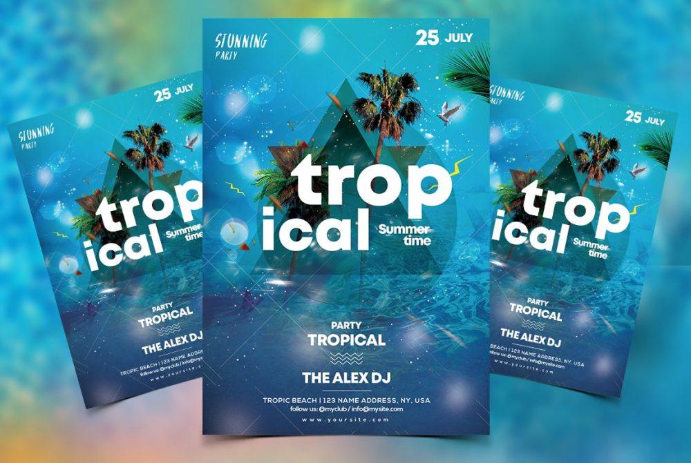 Tropical Summer Free PSD Flyer Template