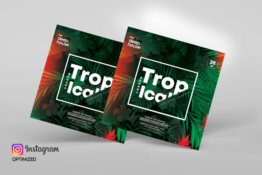 Tropical Summer Sale Free PSD Flyer Template
