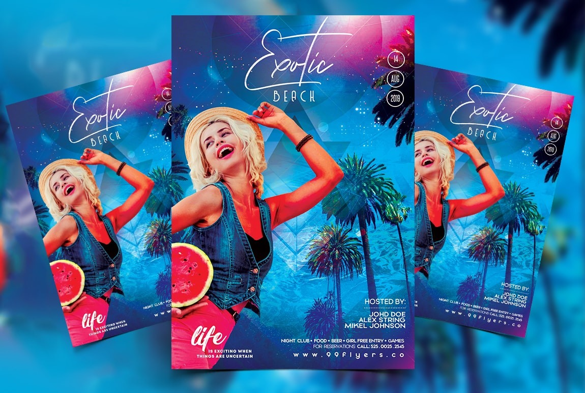 Exotic Beach Party Free PSD Flyer Template