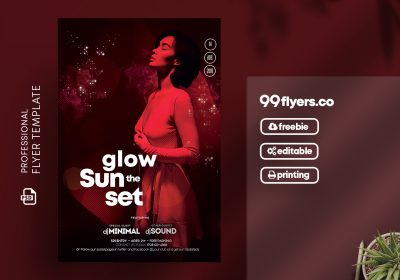 Glow the Sunset Party Free PSD Flyer Template