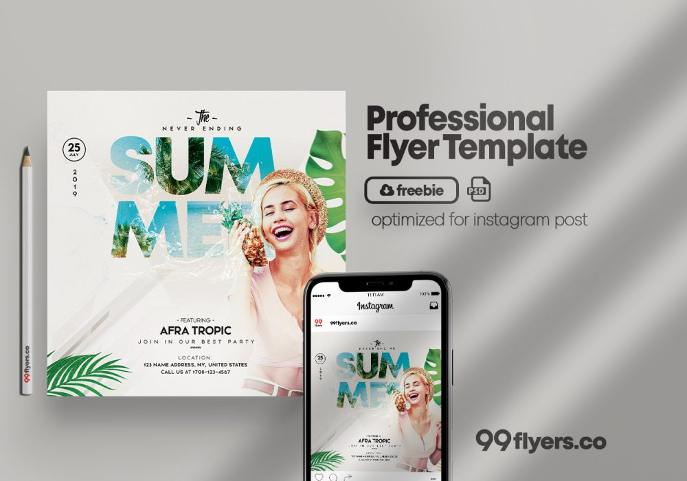 Never Ending Summer Free Flyer Template