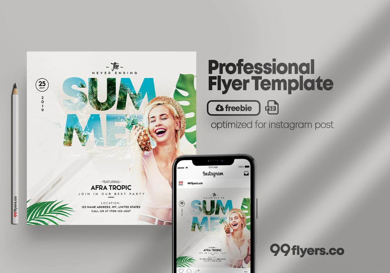 Never Ending Summer Free Flyer Template