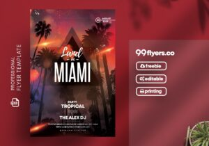 Land in Miami Flyer Free PSD Template