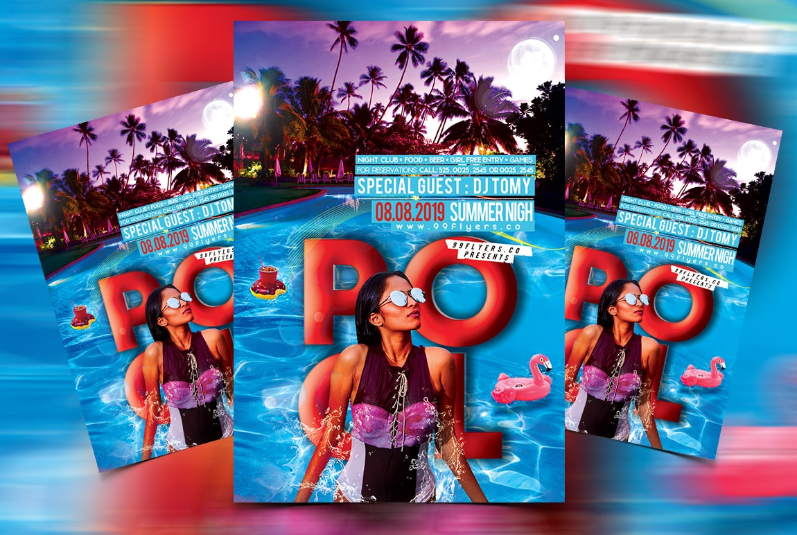Pool Night Party Free PSD Flyer Template