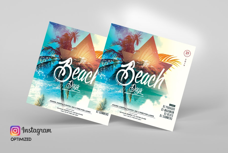Summer Beach Party PSD Free Flyer Template