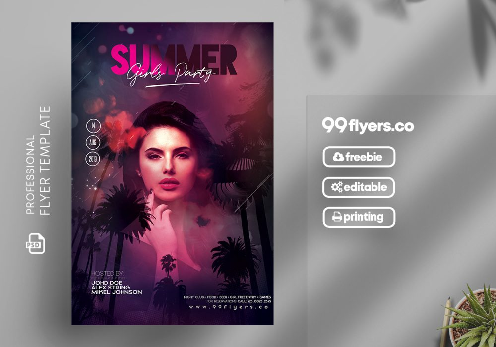 Summer Girls Party Free PSD Flyer Template