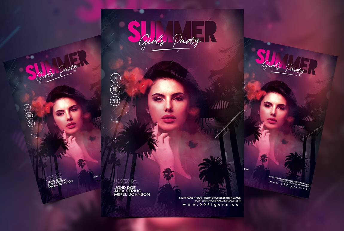 Summer Girls Party Free PSD Flyer Template