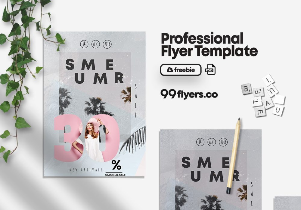 Summer Seasonal Sale Free PSD Flyer Template