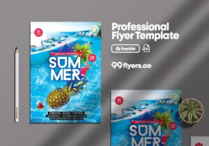 Summer Splash Party Free PSD Flyer Template