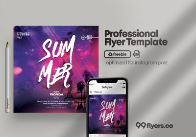 The Summer Party Free PSD Flyer Template