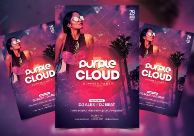 Tropical Sunset Free PSD Flyer Template