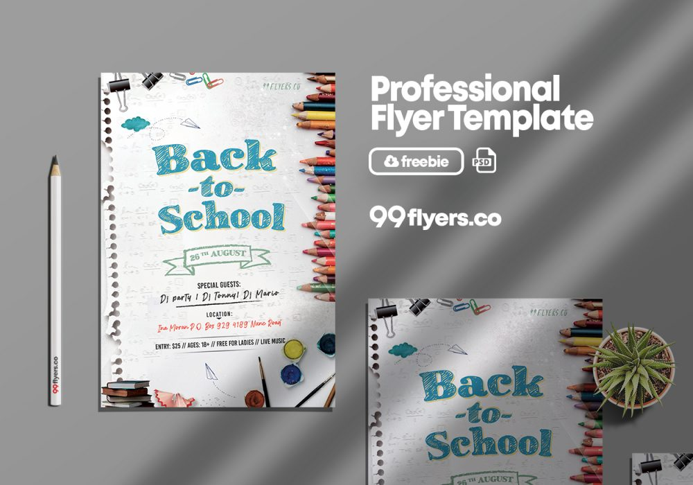 Back To School Event Flyer Free PSD Template
